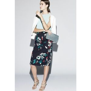 Chelsea 28 High Waist Floral Navy Blue Midi Skirt